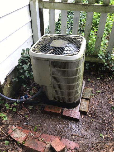 Bexley, OH - technician found low voltage wires cut at outdoor unit from weed whacker. Re connected, cleaned condenser coil. Unit now running