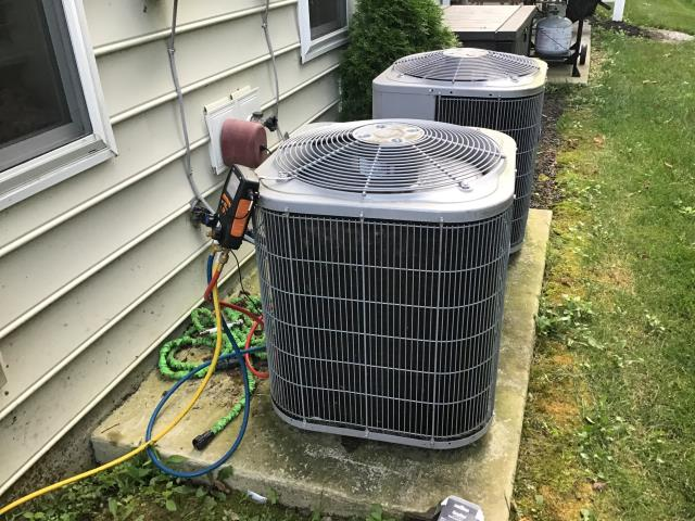 Added R-410A to Carrier AC unit. Unit is currently cooling.