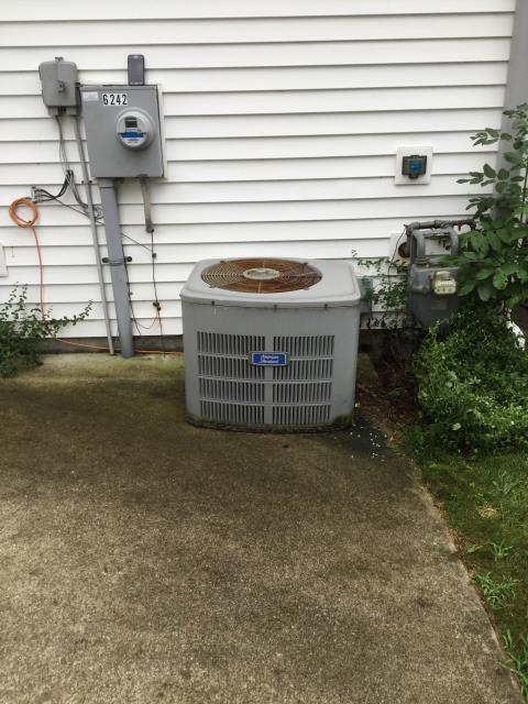 Ac tuneup done on an American Standard AC. It was determined there was a leak and customer opted for a new system rather than repair.