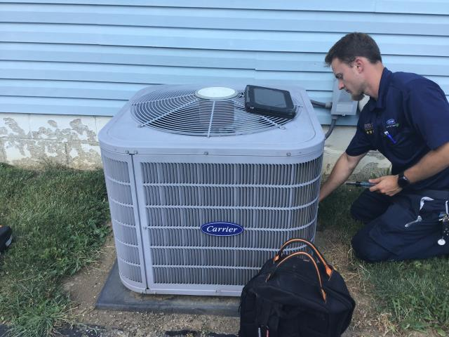 Performed tune up on Carrier A/C unit.