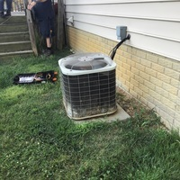 Diagnostic services performed on a 2002 Air Conditioning System. Free estimate provided at customer request to install a Carrier 13 SEER 3 Ton Air Conditioner. Included a one year service maintenance agreement and new Honeywell T1 Thermostat.