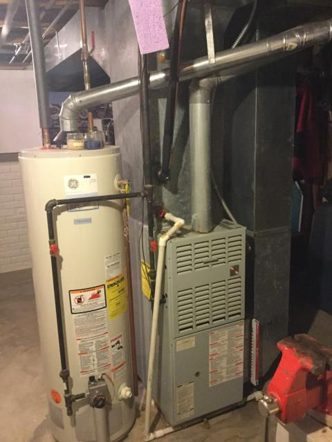 """Pataskala, OH - Job #70051   Homeowner stated that home inspector mentioned that condensate drain line was dripping water, tech noticed that 3/4"""" pvc drain line was not glued in all fittings, technician glued all fittings on Bryant furnace"""