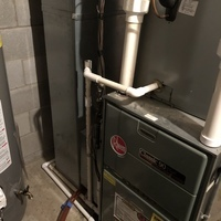 Diagnostic service performed on a Rheem furnace. Secured drain line with metal plumbing strap, cleared out trap to the furnace. Confirmed the blower motor is going bad. Quote provided to replace the motor.
