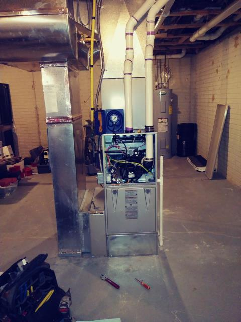 Pataskala, OH - Customer received a fall tune up to ensure their Carrier Infinity Series Gas Furnace will properly function for the winter months.  Pictured is the new Carrier Gas Furnace.