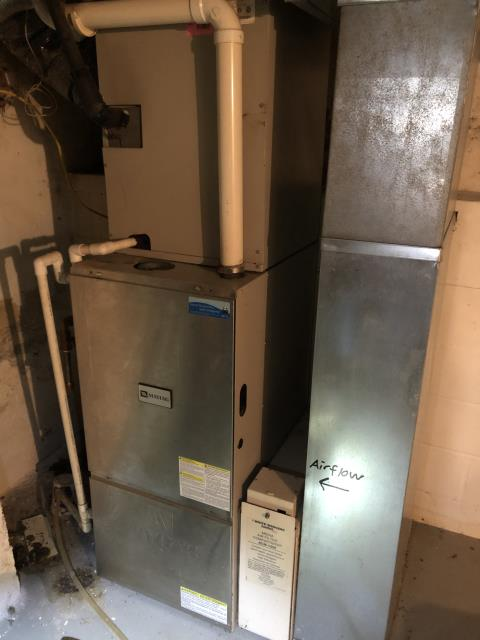 Technician was called for a diagnostic due to the furnace not blowing hot air out of their Maytag Gas Furnace. Technician found that the inducer motor needed to be replaced, which has been ordered for the customer.  Pictured is the customer's Maytag Furnace.