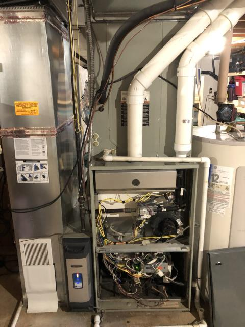 Diagnostic service performed on the Trane Gas Furnace unit. Confirmed that the system is working within manufacturer specifications.  Pictured is the customer's Trane Gas Furnace unit.