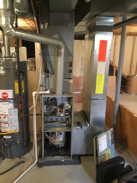 Groveport, OH - Semi annual (FALL) Scheduled Maintenance on CARRIER furnace. While taking readings one of the technicians temperature/CO instruments vibrates loose and fell onto the inducer, breaking the inducer cooling wheel on the motor.  Motor will begin to overheat without this wheel.  Replacing at no charge.