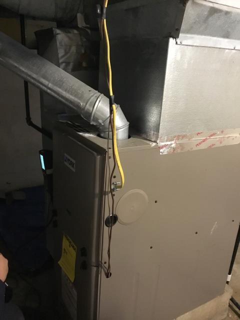 Technician diagnosed a Concord furnace that was intermittently operating when called to heat. Customer stated that basement had flooded the previous summer. The technician found that the filter was damp and dirty and had been sucked into the motor somewhat. He removed the filter and inspected the system. It is now operating properly.