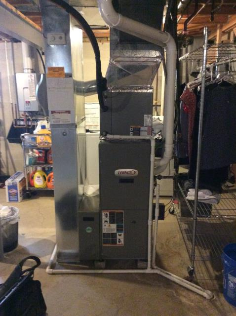 Furnace tune - up and safety check performed on a Lennox Elite Gas furnace unit. Confirmed that the system is working within manufacturer specifications.  Pictured is the Lennox Elite Gas Furnace Unit.