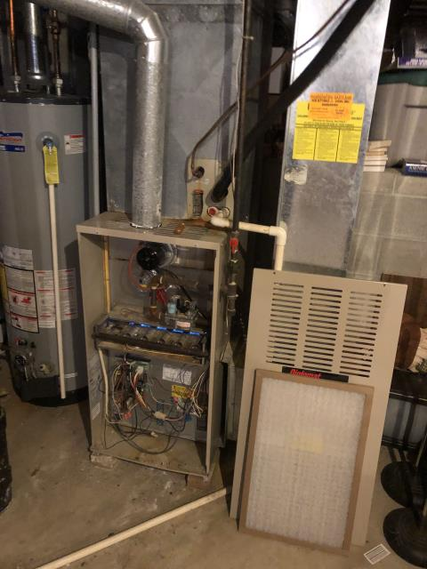 Installing New  Carrier 80% 70,000 BTU Gas Furnace To Replace Existing Lennox Gas Furnace