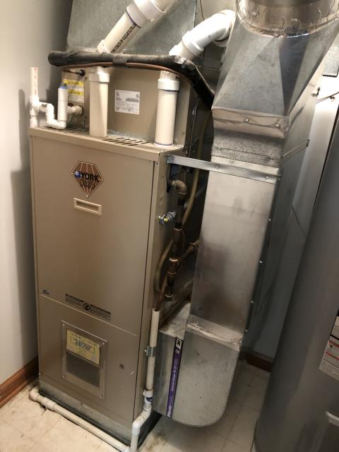 Diagnostic service performed on the York Furnace unit. Confirmed that the system is working within manufacturer specifications.  Pictured is the customer's York Furnace Unit.