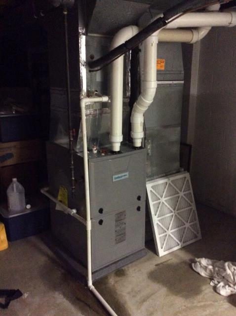 Furnace tune - up and safety check performed on a Comfortmaker Gas furnace unit. Confirmed that the system is working within manufacturer specifications.  Pictured is the customer's Comfortmaker Gas Furnace.