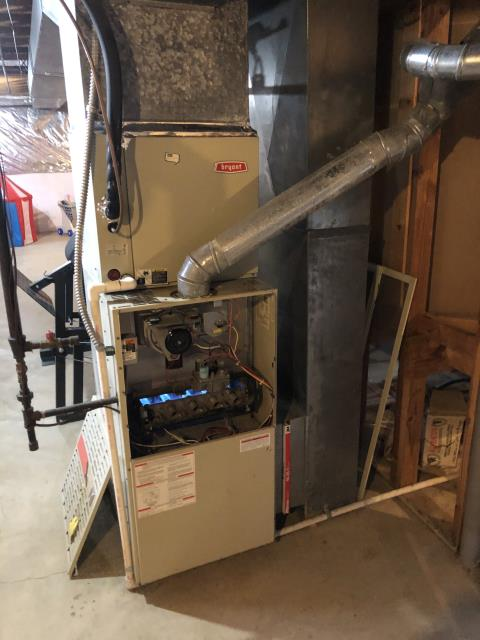 Customer complained that the furnace kept shutting down. Checked over the system and the inducer motor was over amping, the blower motor is showing wear. Pulled and cleaned the flame sensor. The furnace is operating properly at this time.