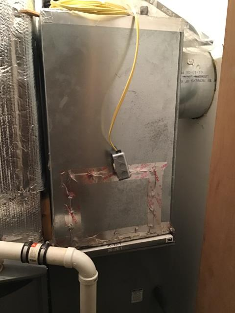 Diagnostic service performed on the Goodman Gas Furnace unit. Confirmed that the system is working within manufacturer specifications.  Pictured is the customer's Goodman Gas Furnace Unit.