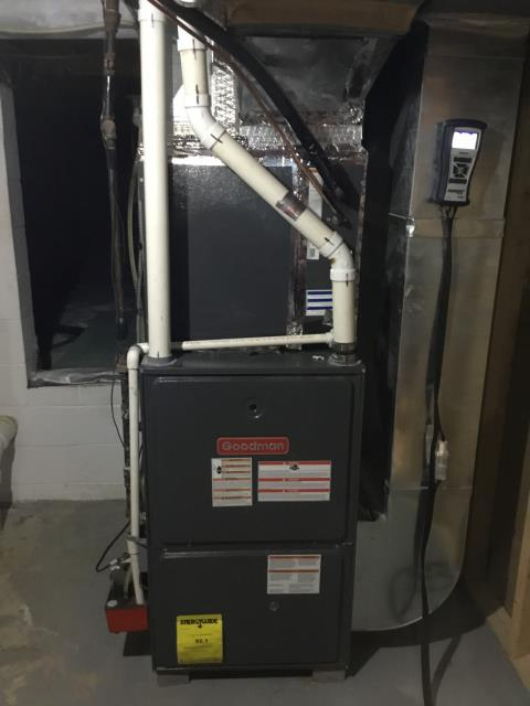 Whitehall, OH - Customer wanted estimate on new system to replace current Goodman furnace. Pictured below is the Goodman.