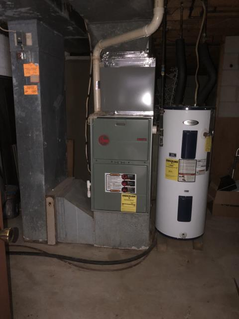 Diagnostic service performed on the Rheem Gas Furnace unit. Confirmed that the system is working within manufacturer specifications.  Pictured is the customer's Rheem Gas Furnace Unit.
