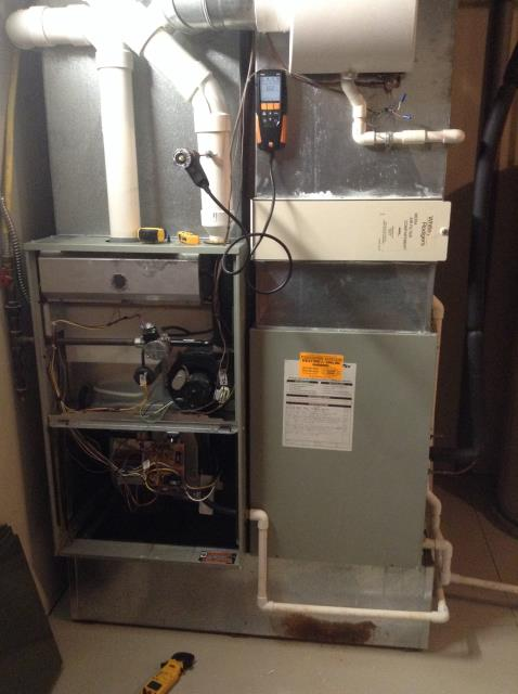 Performed tuneup on Trane furnace. During inspection, found that water had been leaking during the summer which caused rust on burners and inside cells on heat exchanger. Inducer motor was over amping  and a capacitor needed replaced. Recommended new unit due to the damage, customer opted for capacitor replacement.