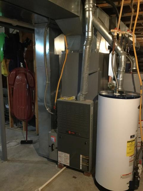 Diagnostic service performed on the Gas Trane Furnace unit. Confirmed that the system is working within manufacturer specifications.  Pictured is the customer's Gas Trane Furnace Unit.