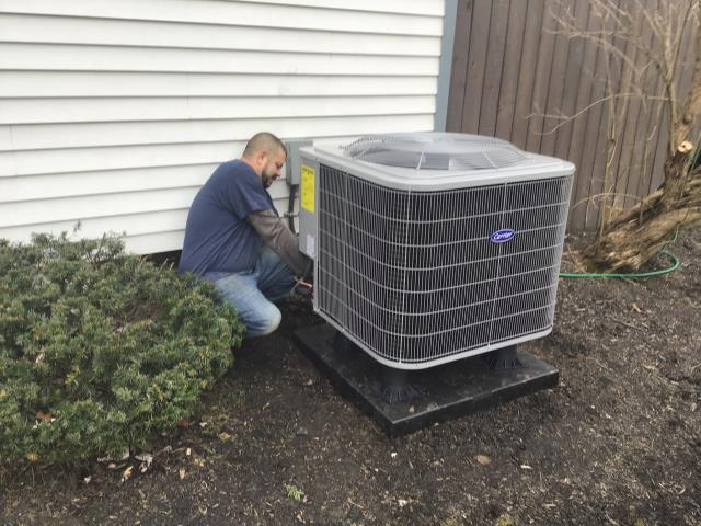Gahanna, OH - I Installed a pro-8000 with wireless outdoor sensor for a Carrier Heat Pump. Set up to switch to e-heat at 25 degrees. Showed homeowner how to operate and told him the batteries will need to be change and will come up on screen to let him know. Put sensor in freezer to show display changing to aux heat. Everything operating normal at this time.