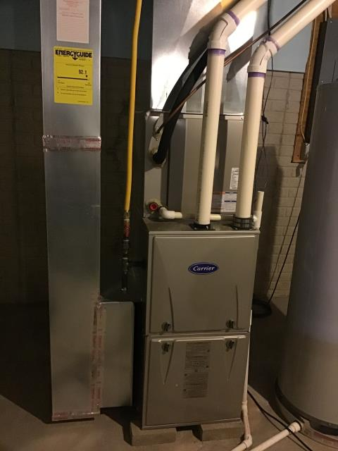 Etna, OH - Performed Our Special Tune-Up & Safety Checkout On a Carrier  Gas Furnace To Keep Furnace Running At Highest Performance For The Winter Season