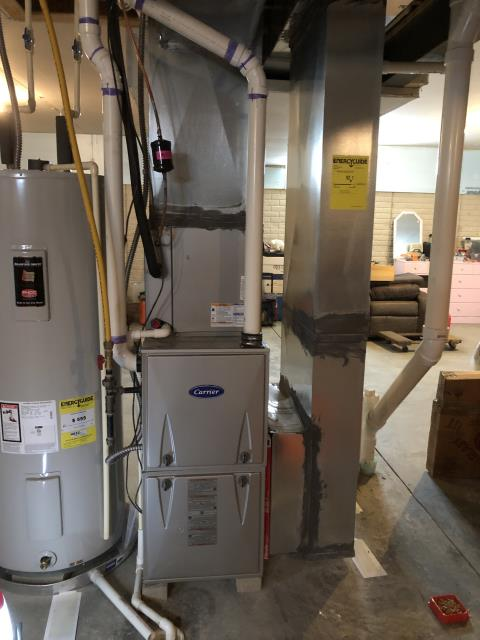 Etna, OH - Upon arrival I replaced a dirty filter and  adjusted blower speed's on Carrier furnace And system is now heating properly without overheating
