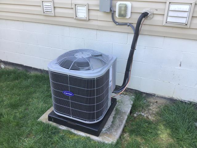 Westerville, OH - I preformed a Installation Inspection for a new Carrier 13 SEER 2 Ton Air Conditioner.
