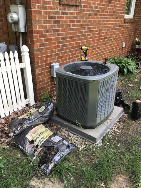 Westerville, OH - Upon arrival I found the condenser fan barely spinning but compressor is not running on a 2012 Trane, checked and found blown capacitor, with customer permission capacitor is replaced, System is not working within manufacture specifications