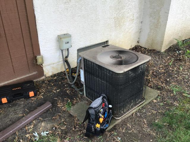 Hilliard, OH - Upon arrival I found a 1995 Armstrong outdoor fan motor very loud, motor windings are tight and when shut off does not free spin, condenser fan motor needs to be replaced before tech can further inspect system, explained repair vs replace options with customer, customer would like to repair system, mounting on universal motor does not properly line up with current motor mounts, fan motor will need to be ordered and installed before system can be further inspected, customer needs to work with home warranty before decision is made