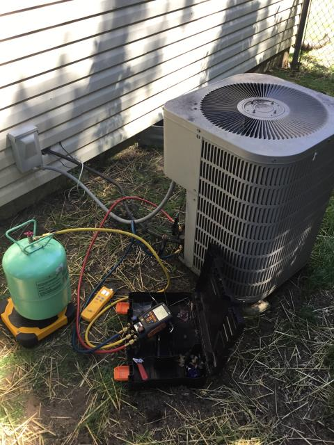 Hilliard, OH - Replaced compressor motor surge capacitor on Goodman AC. System has restriction somewhere. Customer wants to try to get through this summer with the current system.