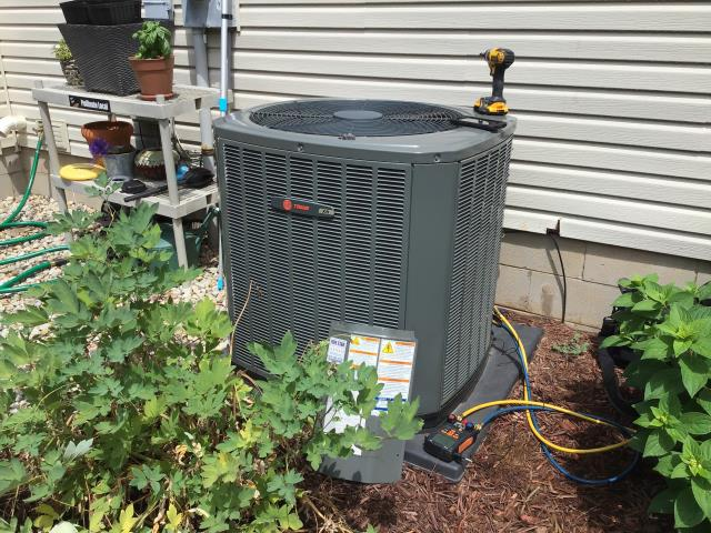 Gahanna, OH - Scheduled maintenance on Trane AC. The system is cooling properly.