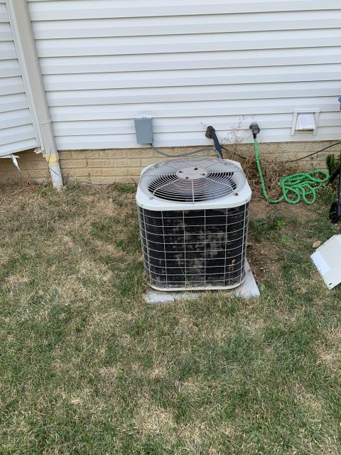 Groveport, OH - Condensing unit has lots of damaged fins around the bottom of the coil from weed trimmer which is preventing proper airflow. Refrigerant reads 65/300 37sh/11sc indicating low on charge again (actively leaking since at least 2019) and a restriction in the system. Repairs are not advisable on the Bryant system as it is 18 years old and undersized for the home. Providing a quote for a new AC.
