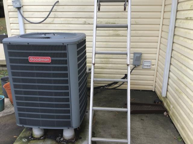 Pataskala, OH - Replaced compressor motor surge capacitor on Goodman AC. Recommend replacing fan motor and blades. Fan motor is showing signs of the seals going bad. System operational at departure.