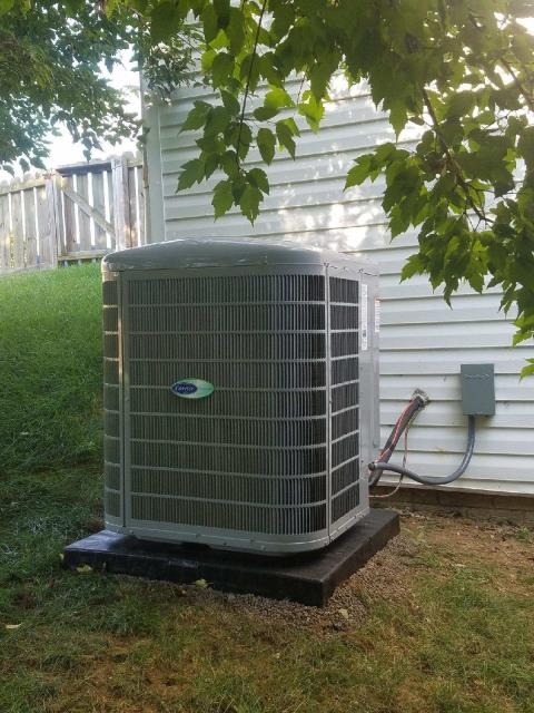 "Lithopolis, OH - Tuneup and safety check on Carrier ""Infinity"" series AC. System is cooling properly at this time."