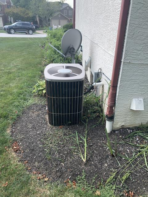Westerville, OH - Customer stated ac was coming on but no cold air. Found compressor running but fan motor not. Found blown capacitor. Replaced with new and system came on. Blower motor over amping at 2.4/.8. Compressor pulling 22/21 amps. Both are over max amps.