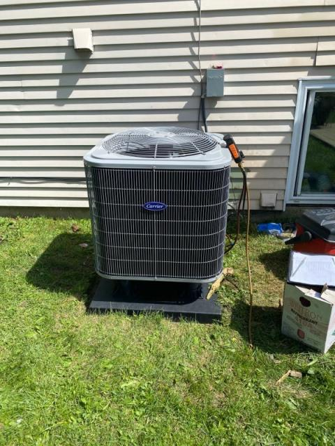 Reynoldsburg, OH - Customer stated system worked for awhile and the. Shut off yesterday. Was able to flip breakers and system came back on. But shut down again. Low pressure terminal was broken and making poor contact. Fixed terminal and contactor pulls right in. Pulled and tested wire to make sure system wouldn't keep shutting down. Check refrigerant pressures. Picture attached. All working properly.