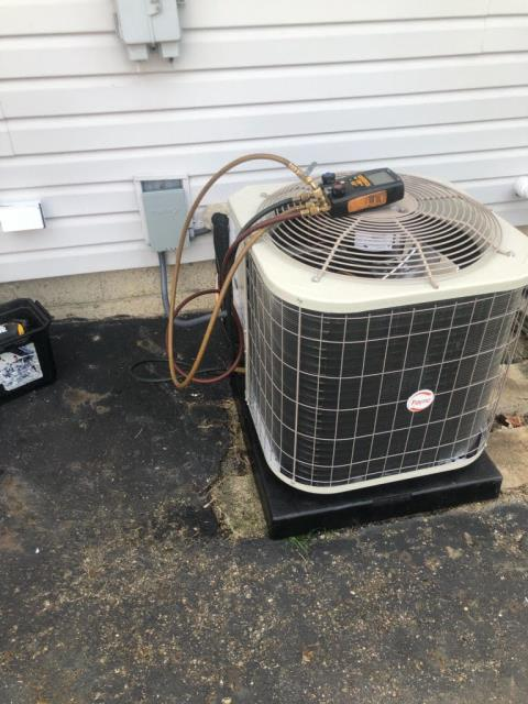 Grove City, OH - Customer had power line come disconnected from transformer to her house. After that breaker would continually trip when ac turned on. Found compressor shorted to ground and tripping breaker. Due to the age of the ac customer decided to replace ac instead of repair.