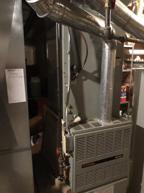 New Albany, OH - I am Performing our Five Star Tune-Up & Safety Check on a  1995 Trane Gas Furnace. All readings were within manufacturer's specifications, unit operating properly at this time.