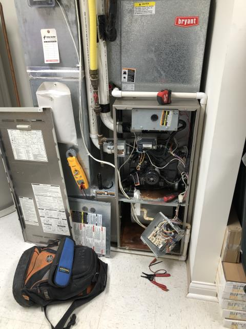Dublin, OH - Arrived on site. Met with customer. Cycled the 2002 Carrier unit on via stat. Unit wasn't responding to all for heat. Was giving a code for open pressure switch. Inducer never received voltage. Removed control board to inspect. Water damage was obvious in cabinet above board and water damage is present on control board.