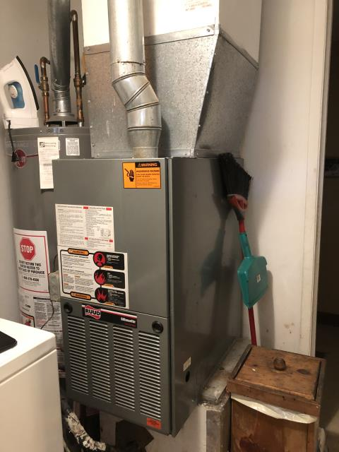 Reynoldsburg, OH - Turned thermostat on heat raised 5 degrees on the 1999 Ruud furnace lit and ran for about 2 minutes blower motor did not kick on system shut down on high limit. Checked power from board to blower motor control board was not sending 120v to blower motor. There was a 24v call between common and G. Blower motor is bad. Discussed price of blower motor with customer and age of system. Customer decided on upgrading to a new furnace and air conditioner.