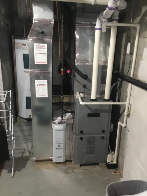 Galena, OH - I completed a tune up on a Kenmore gas furnace.  I visually inspected the unit.  I replaced filter which was provided by the client.  I cleaned flame sensor and burners.  Cleared condensate trap and pressure switch lines.  Checked voltages, amps and pressures.  Completed combustion analysis.  Cycled and monitored system.  Operating normally at this time.