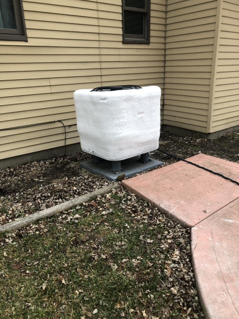 Delaware, OH - I completed a diagnostic on a Carrier heat pump with an electric furnace.  Upon arrival unit was frozen.  I was able to determined that the defrost control board on the heat pump is bad.  Part to be ordered.  Client has heat with auxiliary heat mode.
