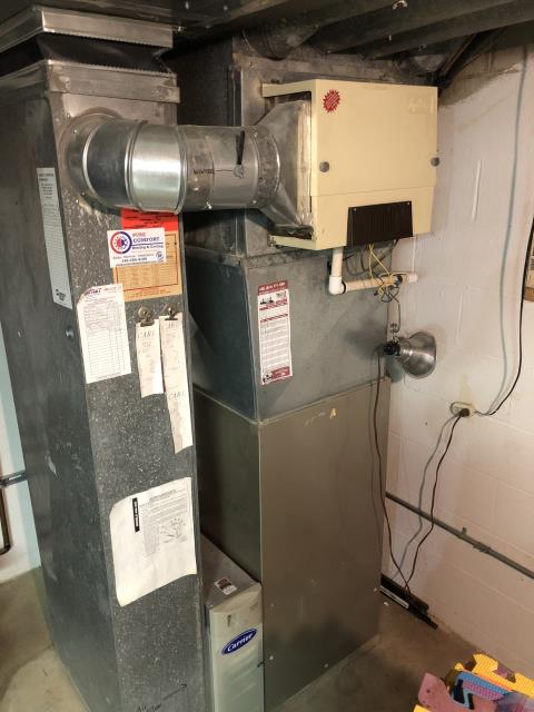 Worthington, OH - I relocated the thermostat for a Carrier gas furnace and air conditioner.  I insulated the supply ducts.  I installed two 4 inch supply runs to provide conditioning to the crawl space.