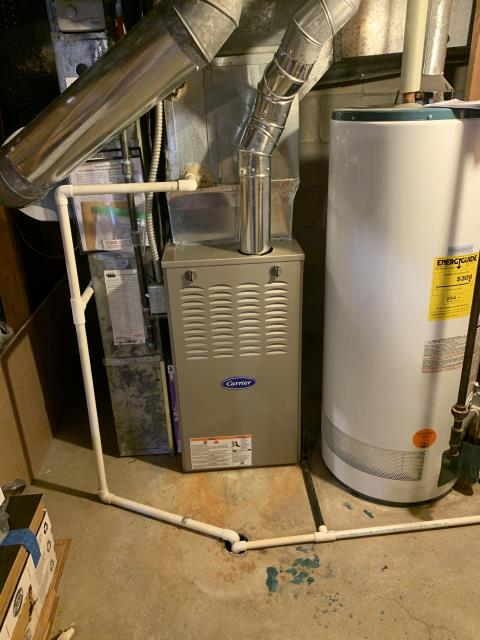 Powell, OH - I removed a Trane gas furnace.  I installed a Carrier 80% 70,000 BTU Gas Furnace.  Included with the installation is a free 1 year service maintenance agreement.