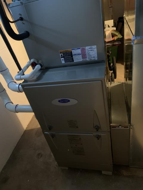 "Worthington, OH - I completed an installation inspection on a Carrier ""Infinity Series"" 96% Variable Speed Two-Stage 100,000 BTU Gas Furnace.  Completed installation checklist.  Cycled and monitored the system.  Operating normally at this time."