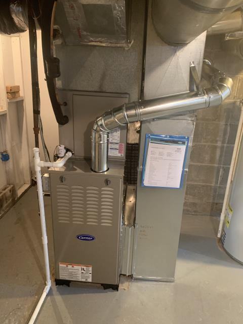 Worthington, OH - I removed a Yok gas furnace and Ruud air conditioner.  I installed a Carrier 80% 45,000 BTU Gas Furnace and a Carrier 13 SEER 2 Ton Air Conditioner.  Included with the installation is a free 1 year service maintenance agreement.