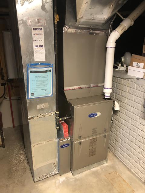 Dublin, OH - Upon arrival determined that 70% of home is flex.  Therefore we can not complete a duct cleaning before installation of a new Carrier 96% Two-Stage 100,000 BTU Gas Furnace.