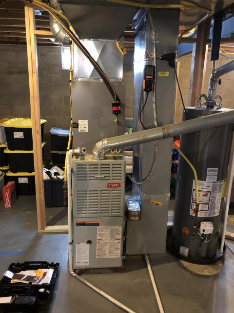 New Albany, OH - I completed a tune up on a Bryant gas furnace.  I visually inspected the unit.  I cleaned the flame sensor.  Checked voltages, amps and pressures.  Completed combustion analysis.  Cycled and monitored system.  Operating normally at this time.