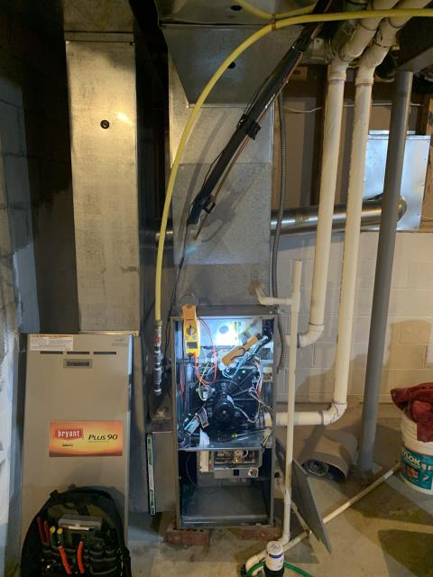 Dublin, OH - I preformed Routine Service Maintenance for a Bryant Gas Furnace. Furnace now operational but recommend replacing blower capacitor reading 6.6/7.5mfd- it is original