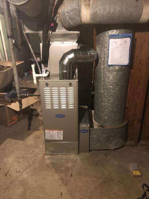Middletown, OH - I removed a Janitrol gas furnace and air conditioner.  I installed a Carrier 80% 70,000 BTU Gas Furnace and a Carrier 13 SEER 2 Ton Air Conditioner.  Cycled and monitored the system.  Operating normally at this time. Included with the installation is a free 1 year service maintenance agreement.