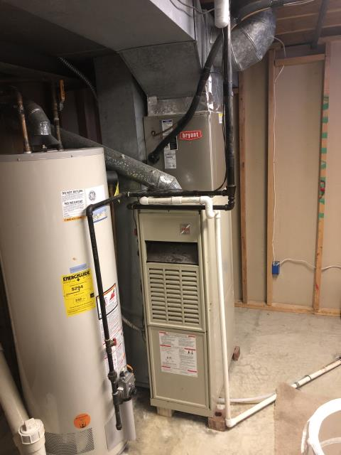 Hilliard, OH - I completed a tune up on a Bryant gas furnace.  I visually inspected the unit.  Noted that the blower is slightly dirty.  Checked voltages, amps and pressures.  Blower motor capacitor is low.  Determined that that the heat exchanger is severely rusted and the middle cell is showing signs of a crack.   Completed a combustion analysis.  Tech turned off unit as it is not safe to operate furnace until repairs have been made or furnace has been replaced.  I gave the client an estimate for repairs.  I also gave the client an estimate for replacing the furnace.  Client declined any repairs at this time.